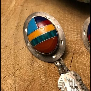Native American Jewelry - Sterling Vintage Inlay Earrings